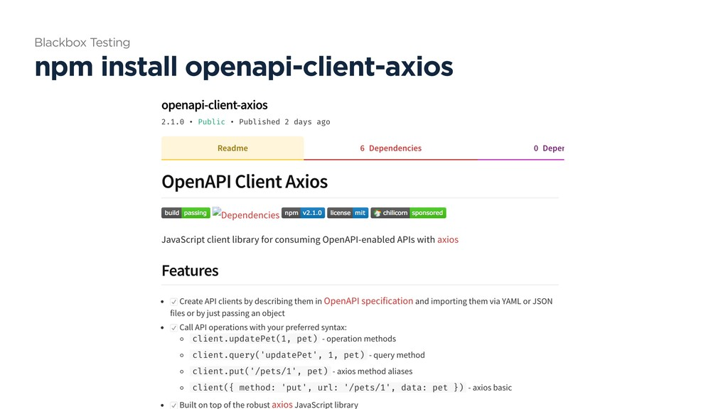 npm install openapi-client-axios Blackbox Testi...