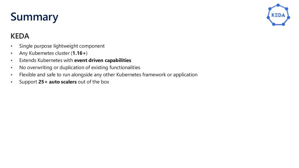 Summary • Single purpose lightweight component ...