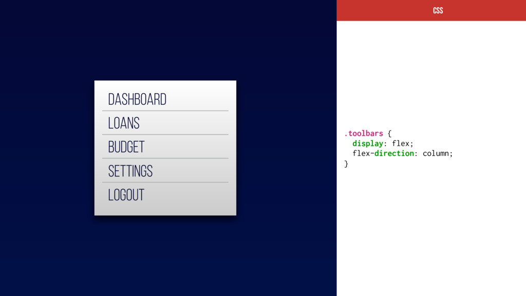 CSs .toolbars { display: flex; flex-direction: ...