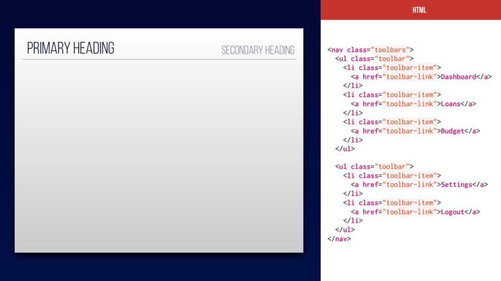 "HTML <nav class=""toolbars""> <ul class=""toolbar""..."