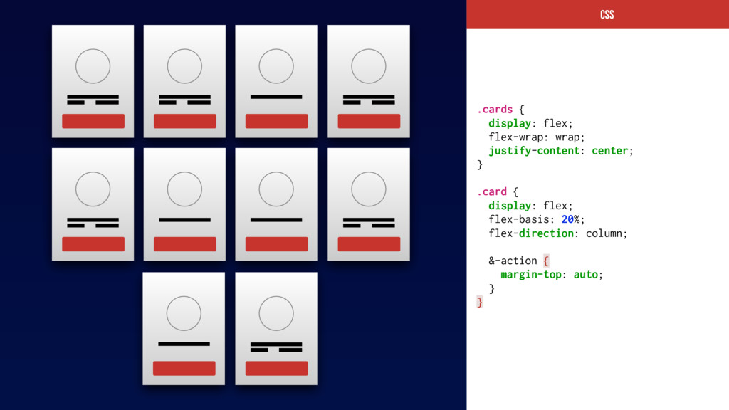 CSs .cards { display: flex; flex-wrap: wrap; ju...