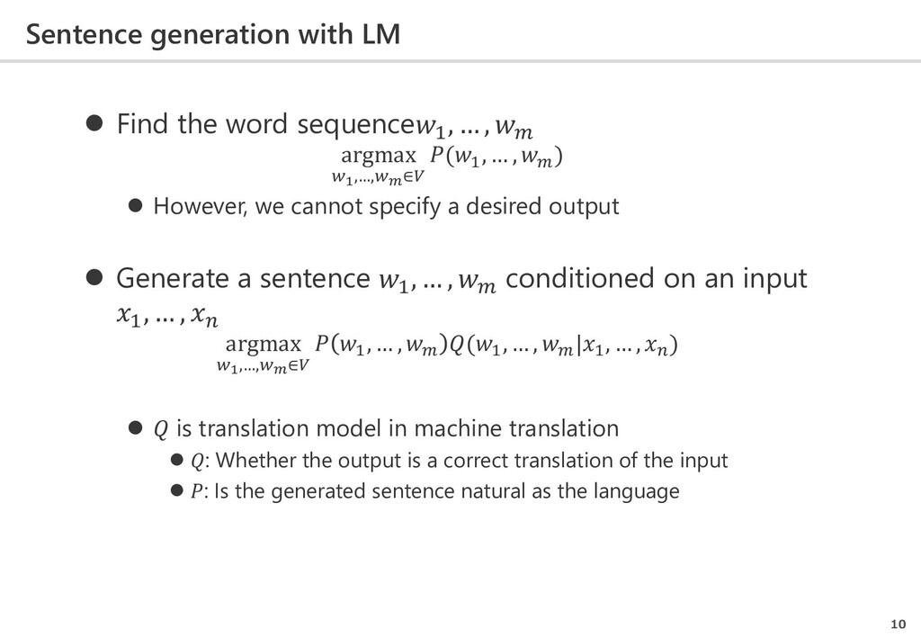 Sentence generation with LM 10  Find the word ...