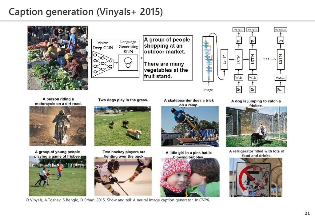 Caption generation (Vinyals+ 2015) 21 O Vinyals...