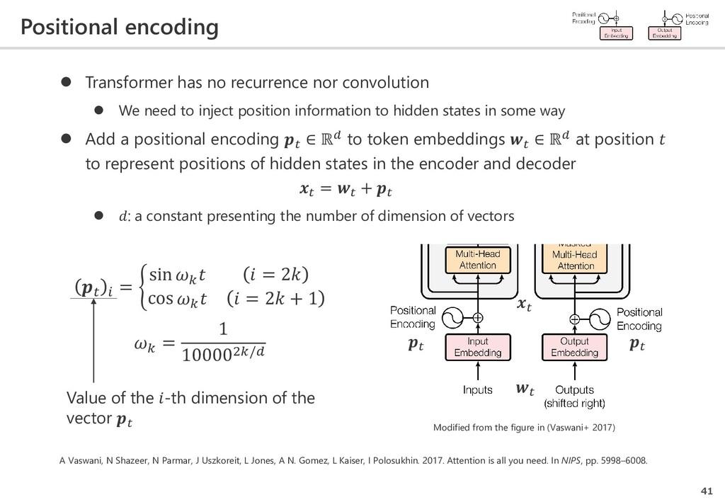 Positional encoding 41  Transformer has no rec...