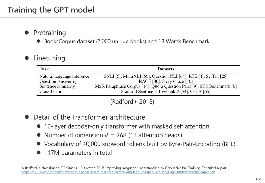 Training the GPT model 62  Pretraining  Books...