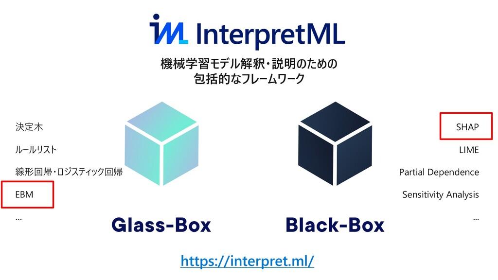 https://interpret.ml/ 機械学習モデル解釈・説明のための 包括的なフレーム...