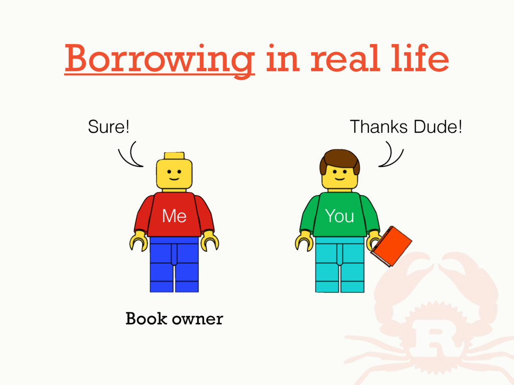 Borrowing in real life Me You Thanks Dude! Sure...