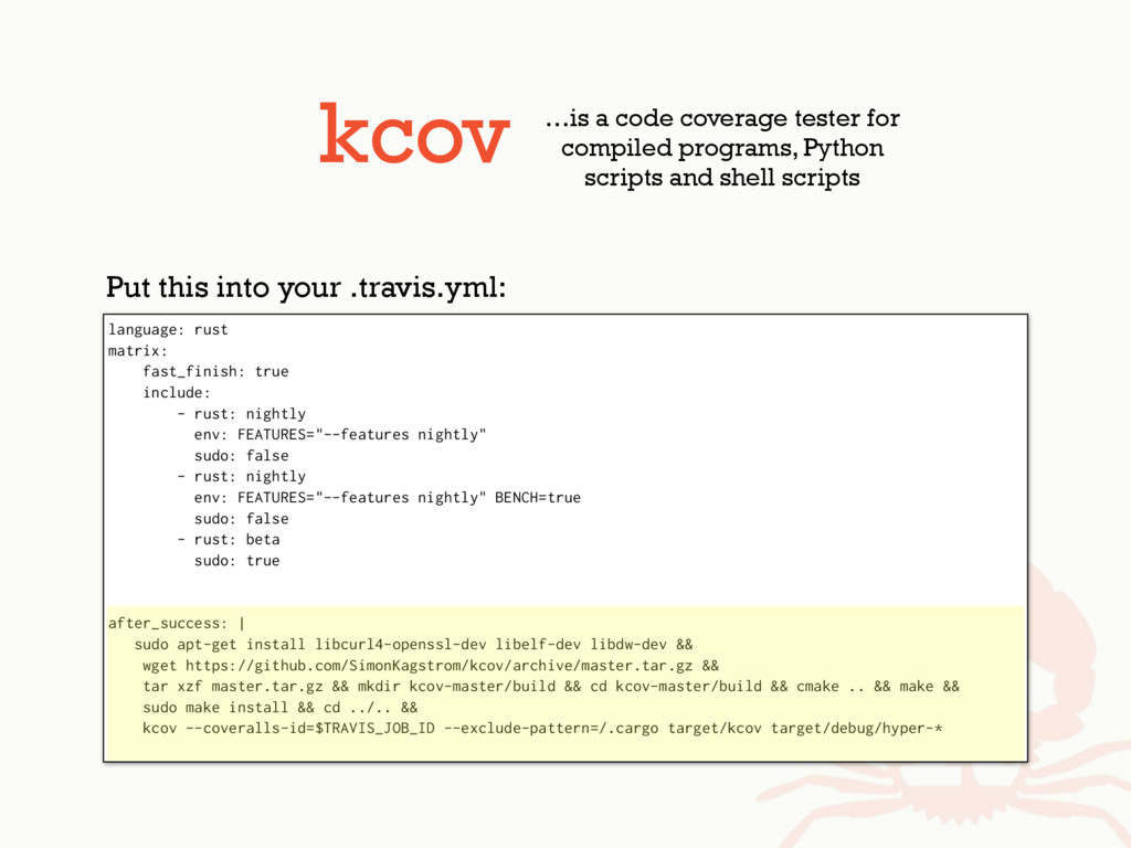 kcov …is a code coverage tester for compiled pr...