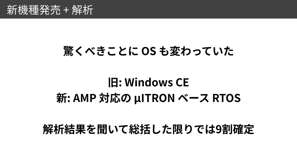 + OS   : Windows CE   : AMP μITRON RTOS   9