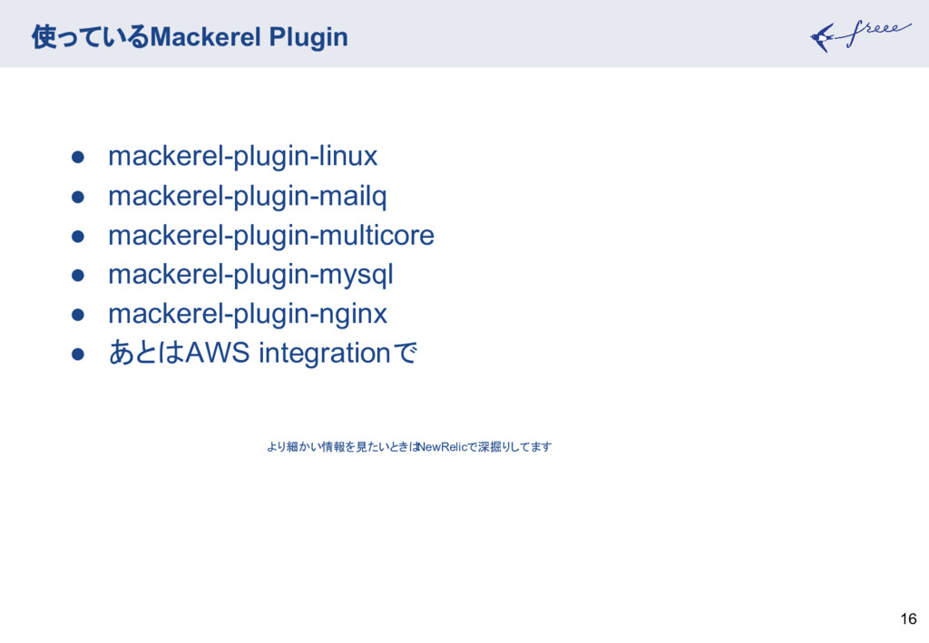 使っているMackerel Plugin 16 ● mackerel-plugin-linux...