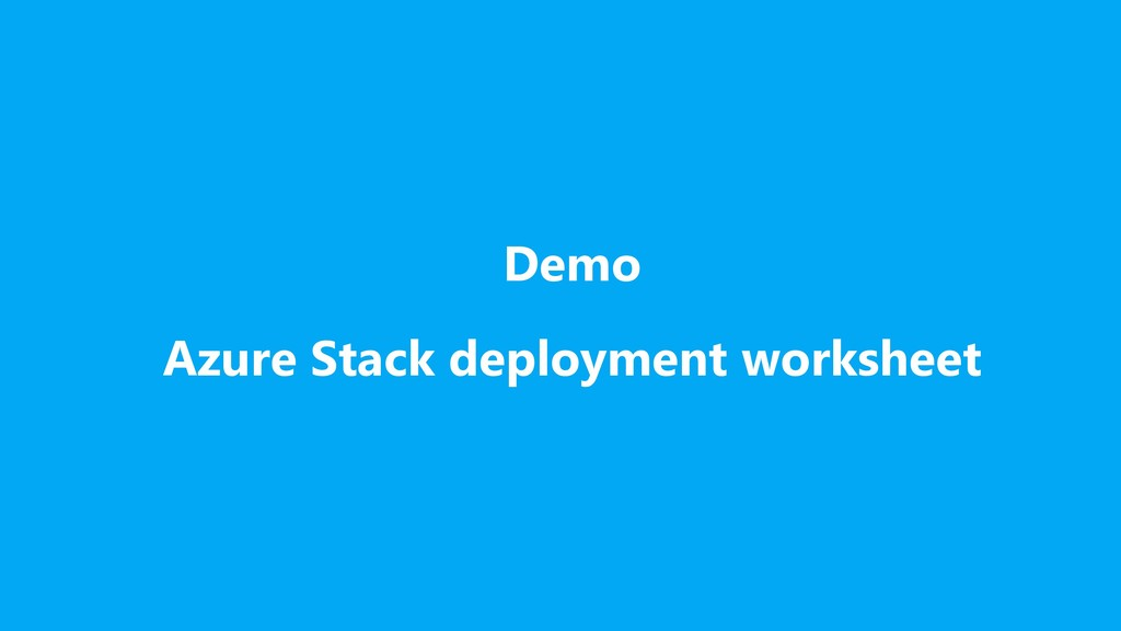 Demo Azure Stack deployment worksheet