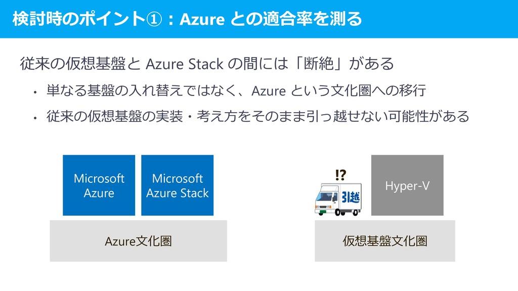検討時のポイント①:Azure との適合率を測る 従来の仮想基盤と Azure Stack の...