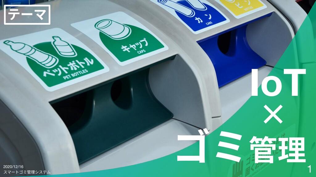 ゴミ管理 × IoT スマートゴミ管理システム 1 テーマ 2020/12/16