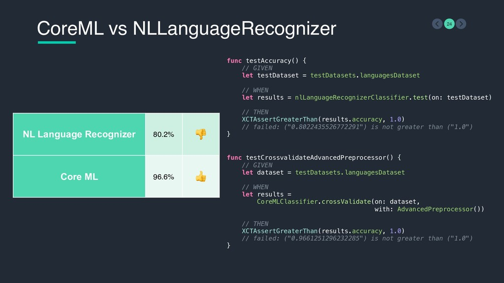 CoreML vs NLLanguageRecognizer 24 func testCros...