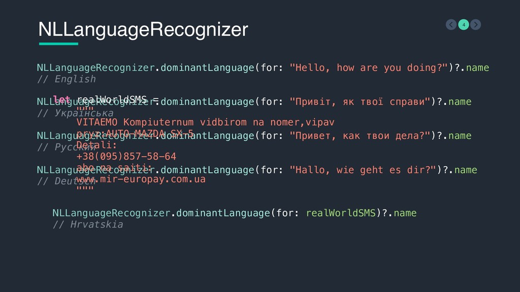 "NLLanguageRecognizer.dominantLanguage(for: ""Hel..."