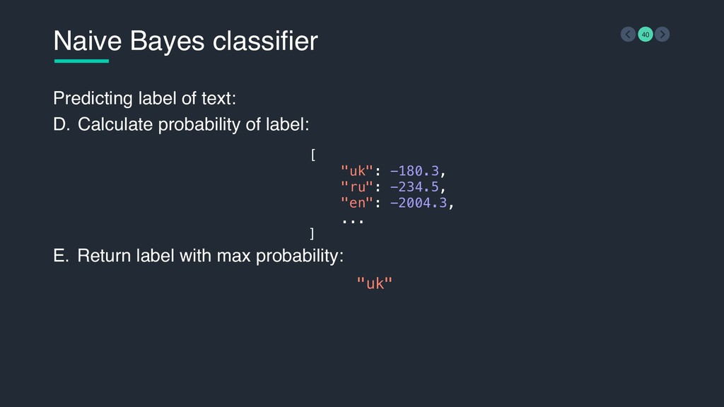 Naive Bayes classifier 40 Predicting label of t...