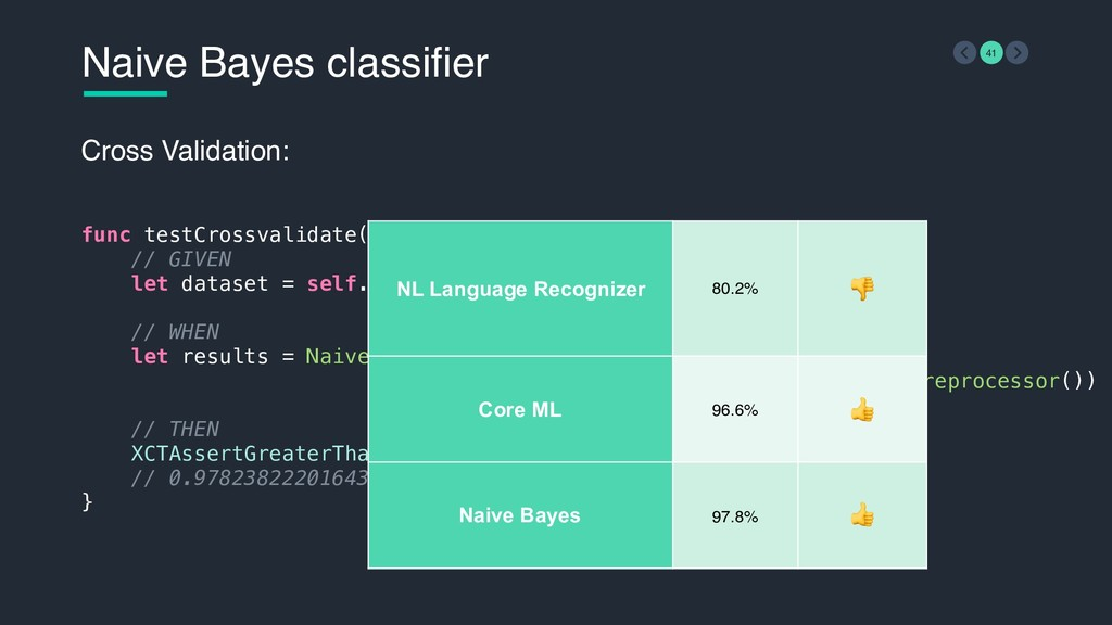 Naive Bayes classifier 41 Cross Validation: fun...