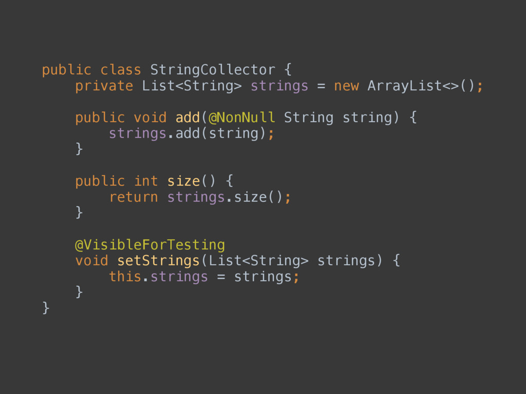 public class StringCollector { private List<St...