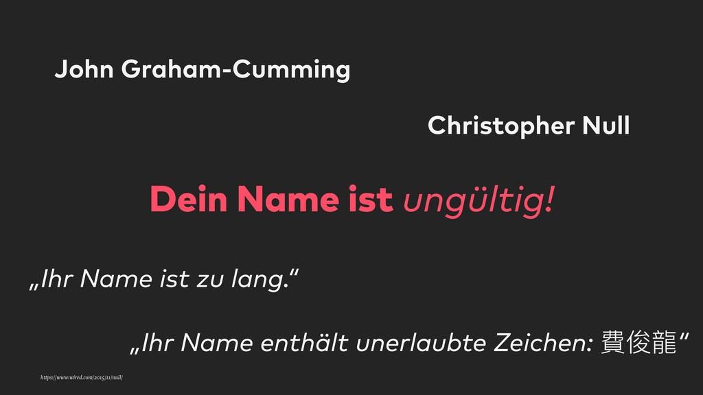 Dein Name ist ungültig! John Graham-Cumming Chr...