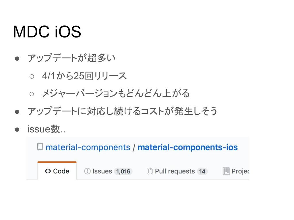 MDC iOS ● アップデートが超多い ○ 4/1から25回リリース ○ メジャーバージョン...