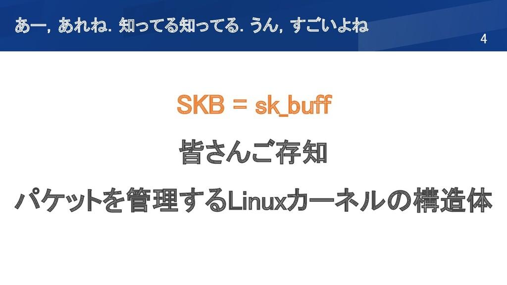 4 SKB = sk_buff 皆さんご存知 パケットを管理するLinuxカーネルの構造...