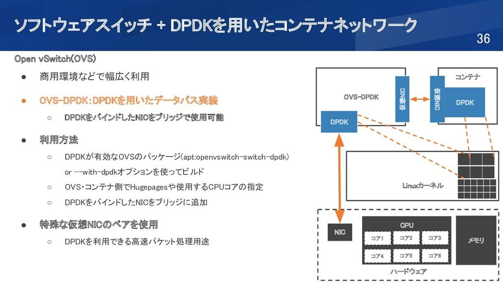 ソフトウェアスイッチ + DPDKを用いたコンテナネットワーク 36 Open vSwit...
