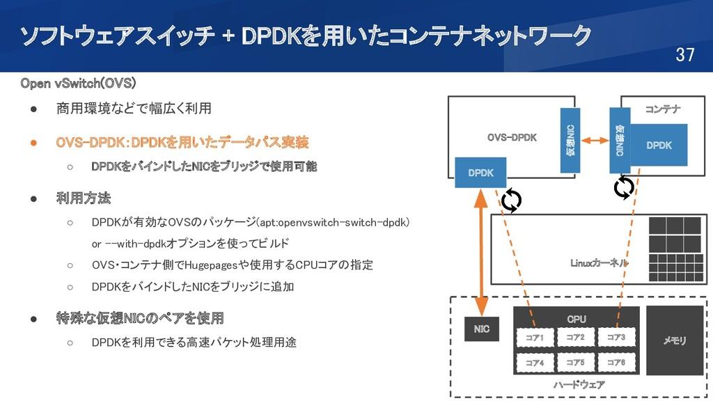 ソフトウェアスイッチ + DPDKを用いたコンテナネットワーク 37 Open vSwit...