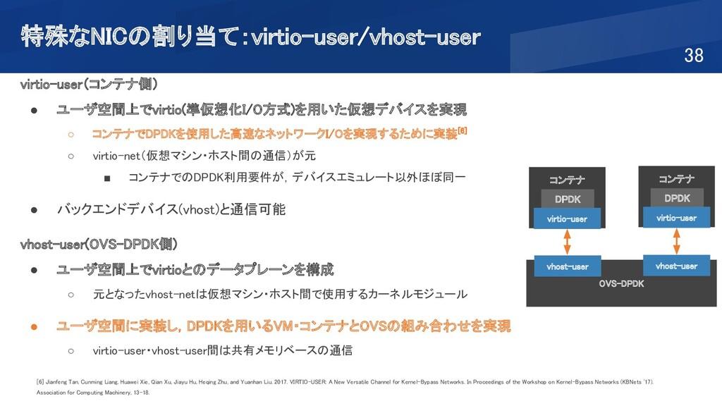 特殊なNICの割り当て:virtio-user/vhost-user 38 virtio-...