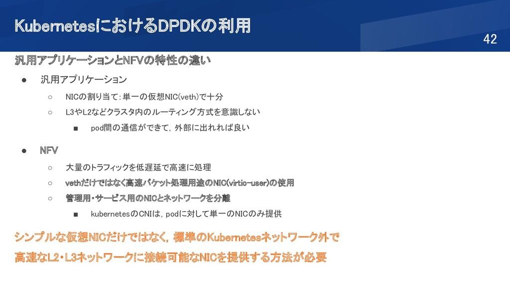 KubernetesにおけるDPDKの利用 42 汎用アプリケーションとNFVの特性の違い...