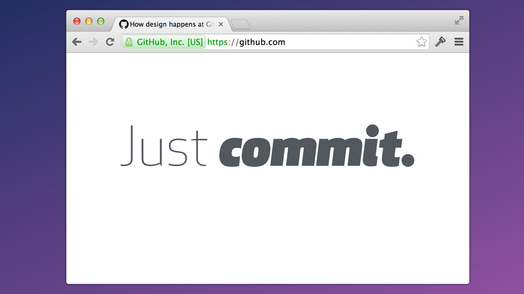 Just commit.