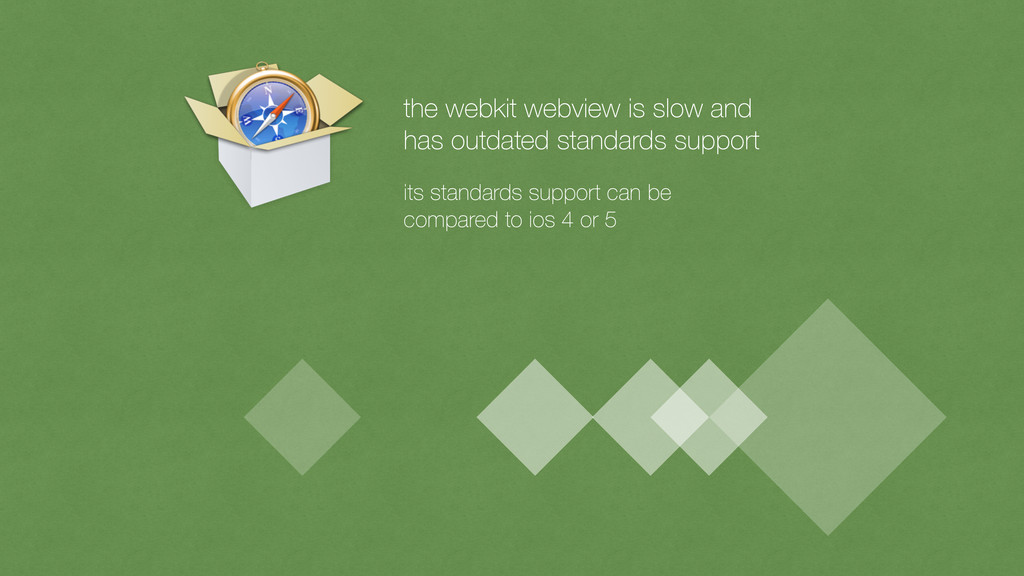 the webkit webview is slow and has outdated sta...