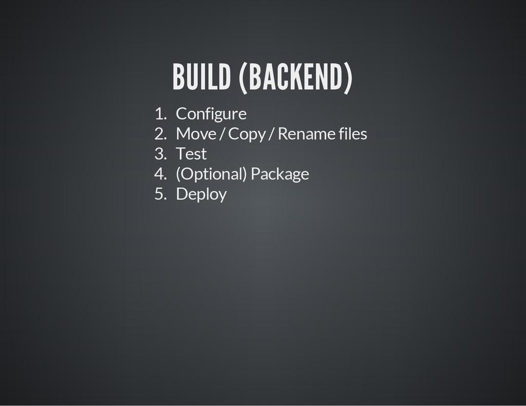 BUILD (BACKEND) 1. Configure 2. Move / Copy / R...