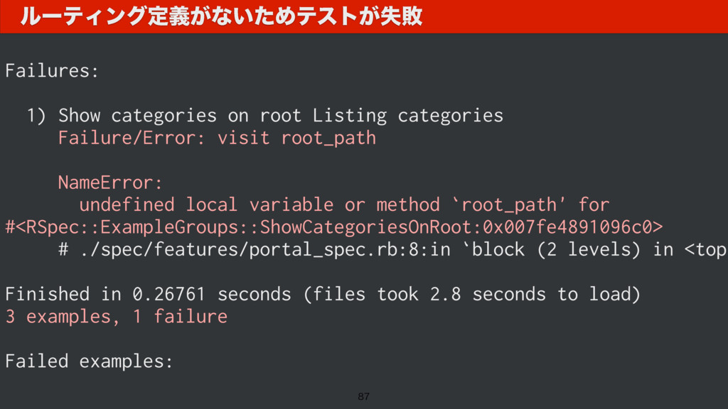 F.. Failures: 1) Show categories on root Listin...