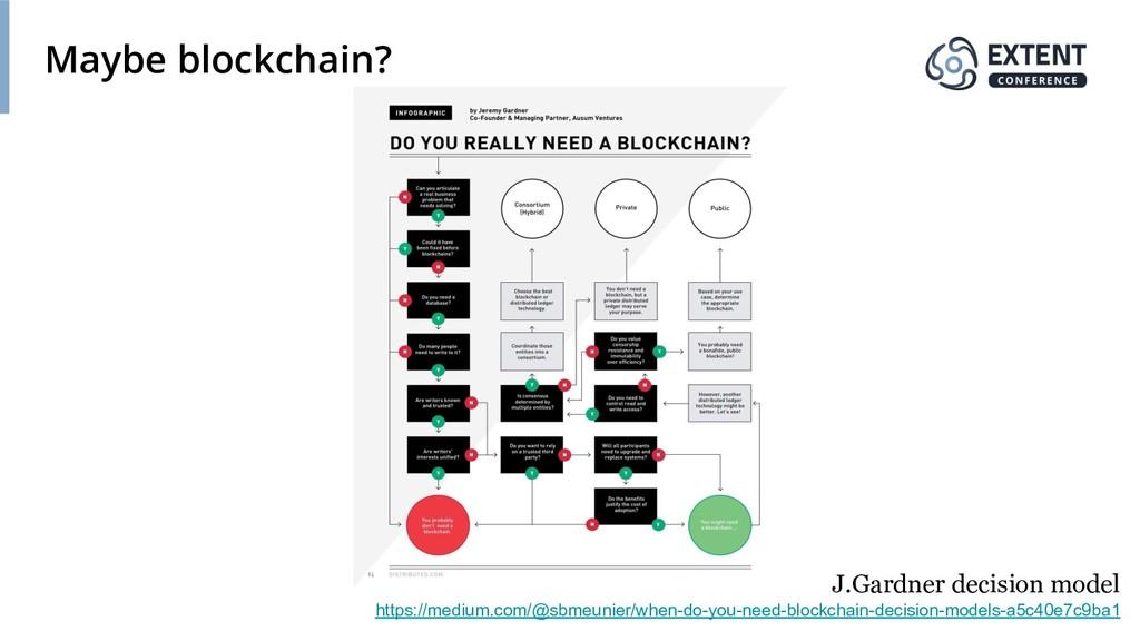Maybe blockchain? J.Gardner decision model http...