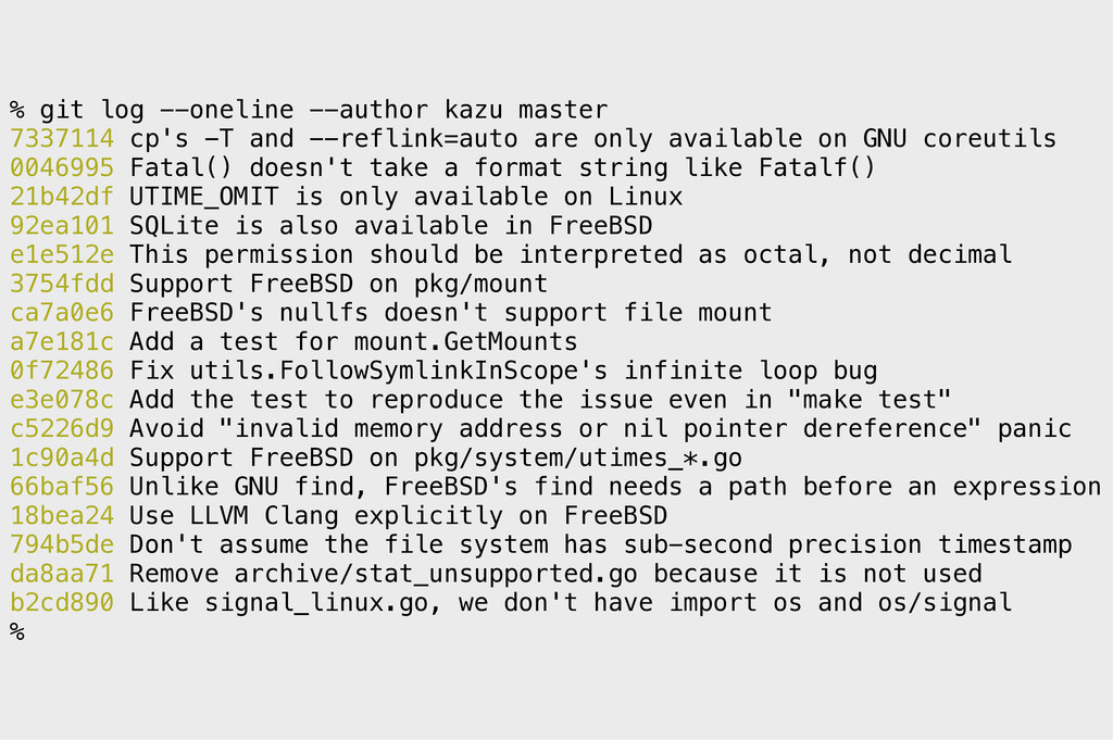 % git log --oneline --author kazu master 733711...