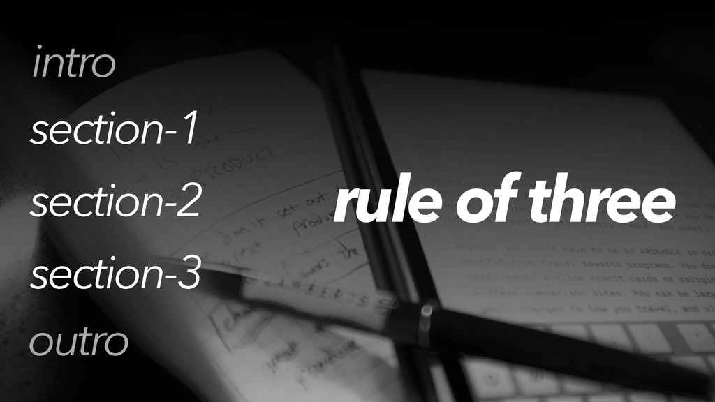 rule of three section-1 section-2 section-3 out...