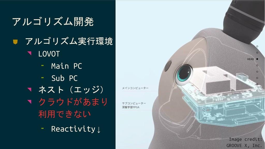 アルゴリズム開発 ⛊ アルゴリズム実行環境 ◥ LOVOT ⁃ Main PC ⁃ Sub P...