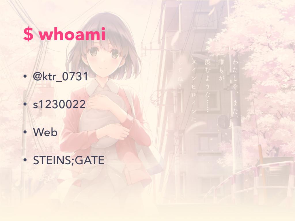 $ whoami • @ktr_0731 • s1230022 • Web • STEINS;...
