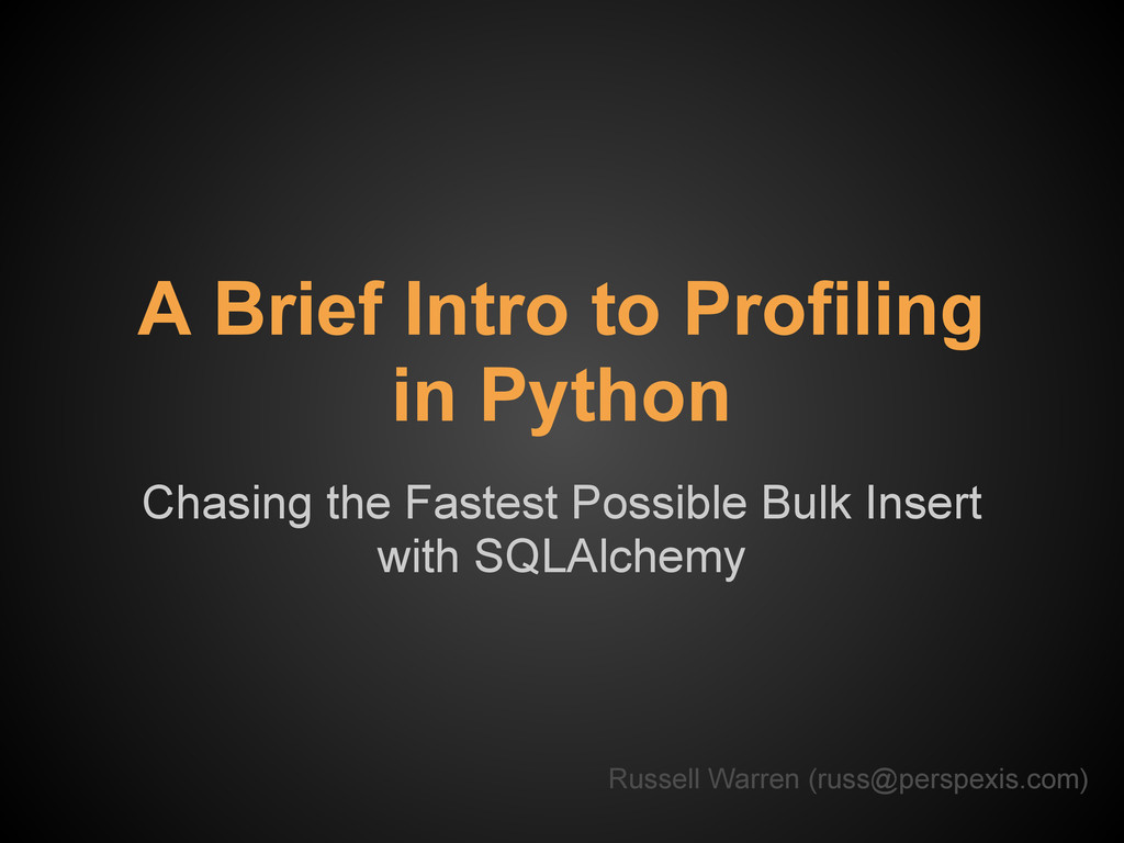 A Brief Intro to Profiling in Python Chasing th...
