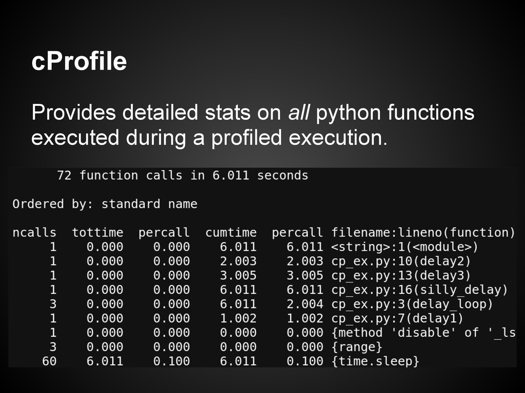 cProfile Provides detailed stats on all python ...