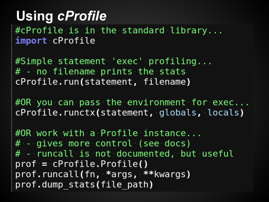 Using cProfile