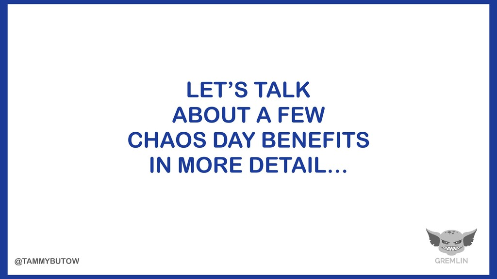LET'S TALK ABOUT A FEW CHAOS DAY BENEFITS IN MO...