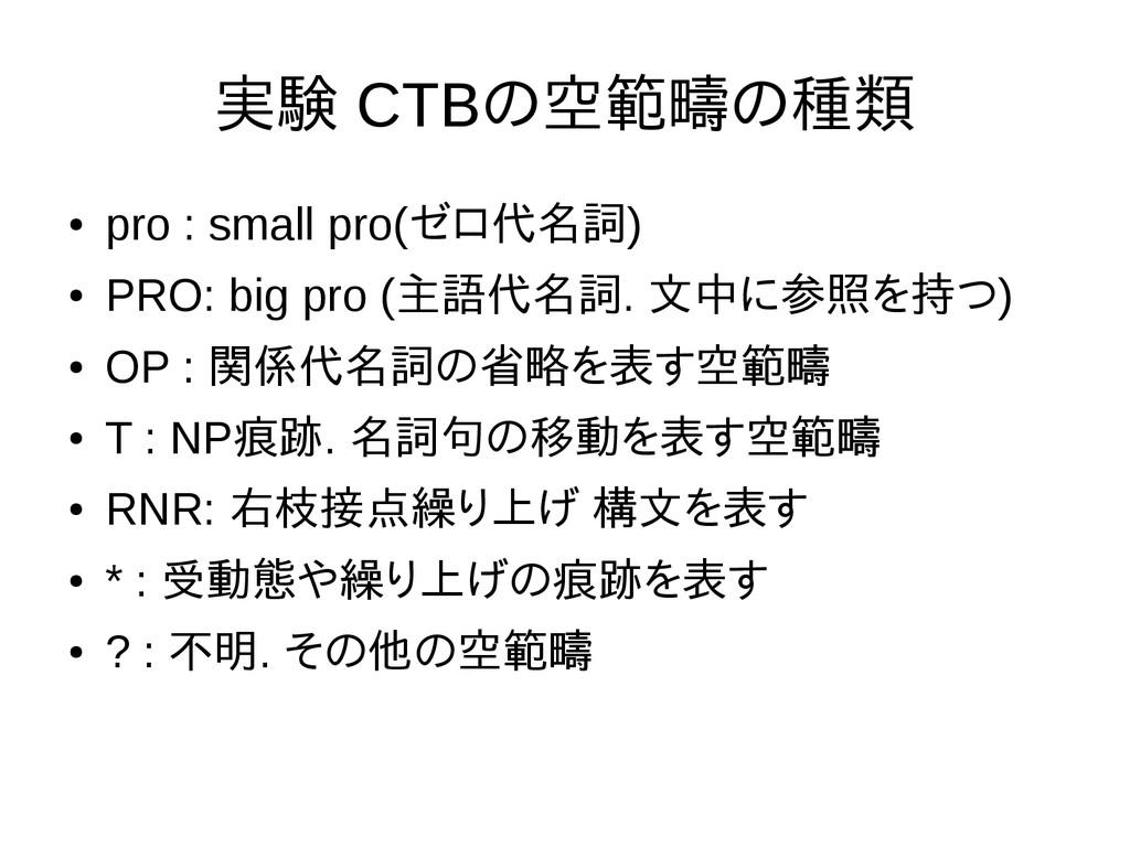 実験 CTBの空範疇の種類 ● pro : small pro(ゼロ代名詞) ● PRO: b...