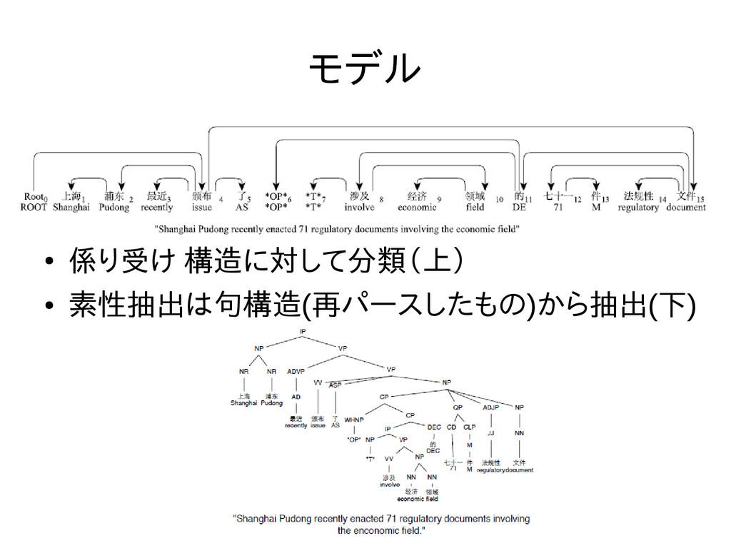 モデル ● 係り受け 構造に対して分類(上) ● 素性抽出は句構造(再パースしたもの)から抽出...