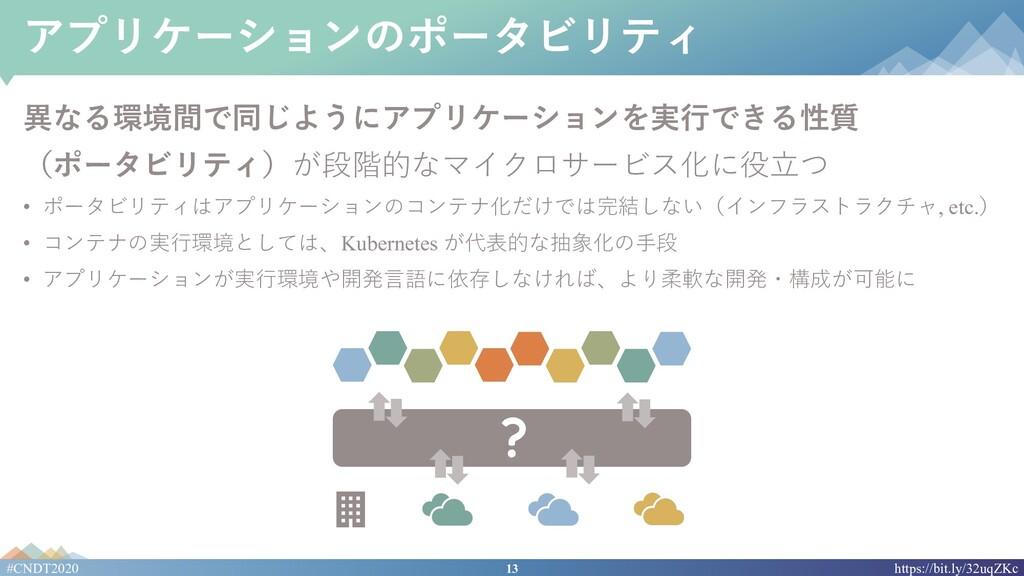 13 #CNDT2020 https://bit.ly/32uqZKc アプリケーションのポー...