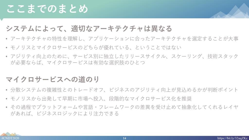 14 #CNDT2020 https://bit.ly/32uqZKc ここまでのまとめ シス...