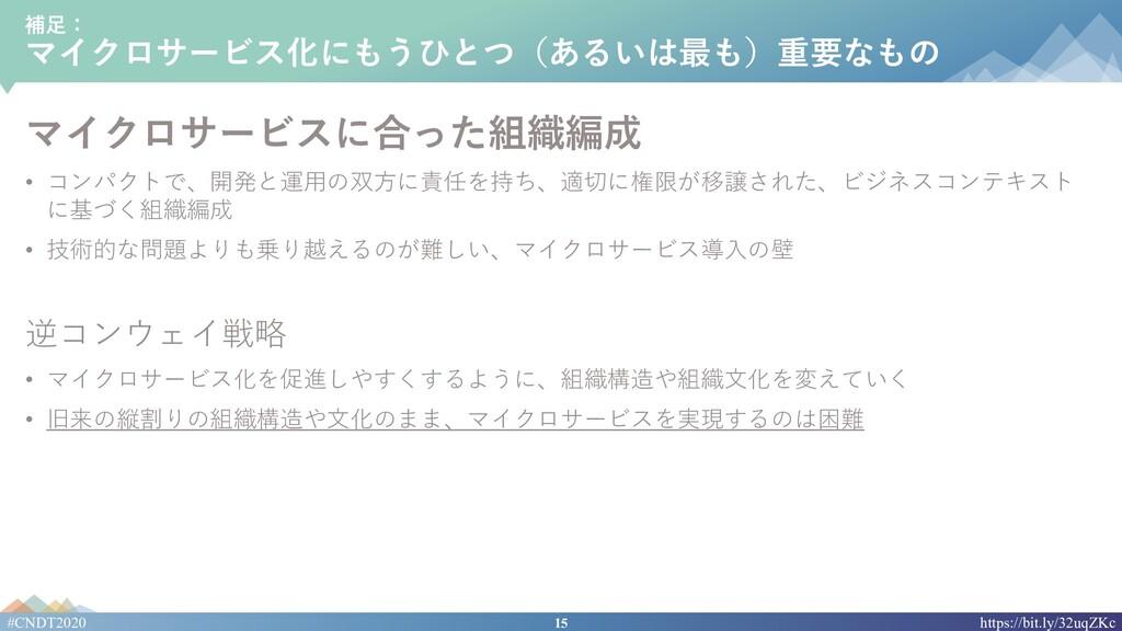 15 #CNDT2020 https://bit.ly/32uqZKc 補⾜: マイクロサービ...