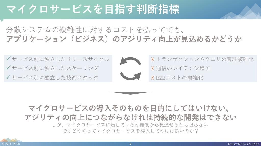 9 #CNDT2020 https://bit.ly/32uqZKc マイクロサービスを⽬指す...