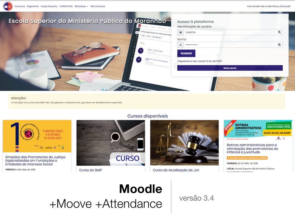 Moodle +Moove +Attendance versão 3.4