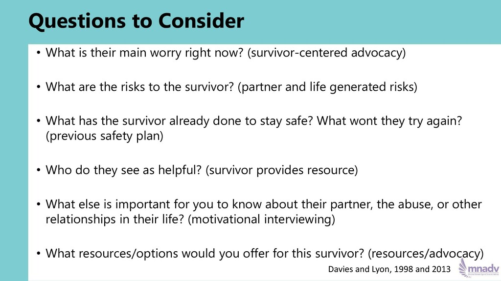 Questions to Consider • What is their main worr...